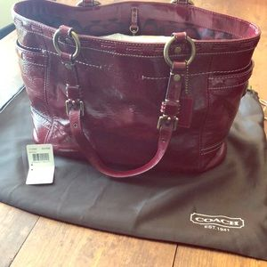 Coach ruby red leather bucket purse